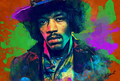 Digital Art - Jimi Hendrix by Kai Saarto