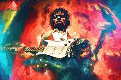 Painting - Jimi Hendrix  by Louis Ferreira
