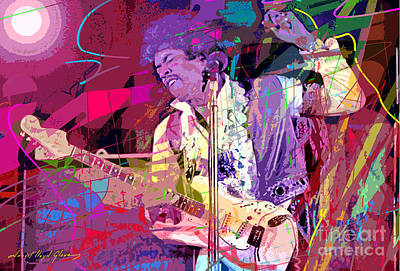 Jimi Hendrix Monterey Pops Print by David Lloyd Glover