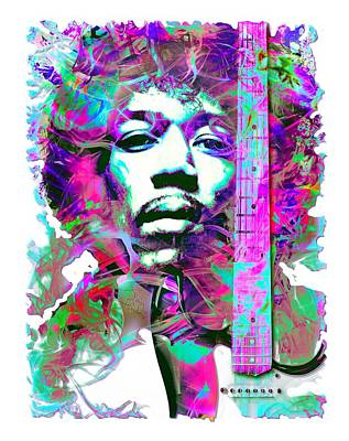 Musicians Royalty Free Images - Jimi Hendrix Musician Royalty-Free Image by Mal Bray