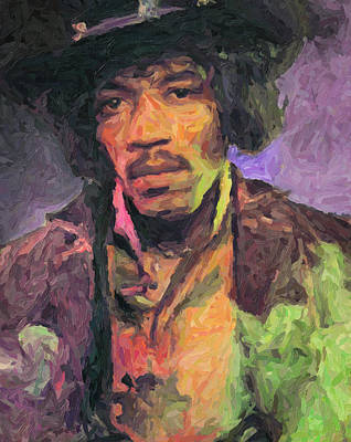 Rock And Roll Royalty-Free and Rights-Managed Images - Jimi Hendrix Painting by Zapista
