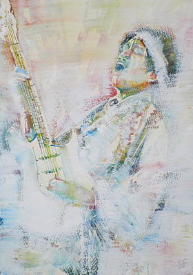 Fender Stratocaster Painting - Jimi Hendrix Playing The Guitar.9 - Watercolor Portrait by Fabrizio Cassetta