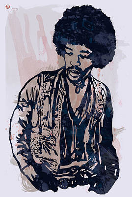 Jimi Hendrix Pop Stylised Art Sketch Poster Art Print by Kim Wang
