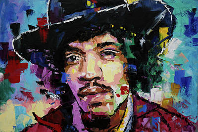 Abstract Expression Painting - Jimi Hendrix Portrait II by Richard Day