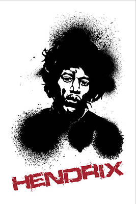 Bob Dylan Digital Art - Jimi Hendrix Poster Print - Music Poster by Beautify My Walls