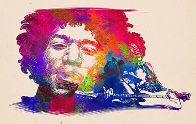 Digital Art - Jimi Hendrix Print by Jimi Hendrix