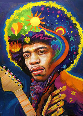 Painting - Jimi Hendrix Psychedelic by Robert Korhonen