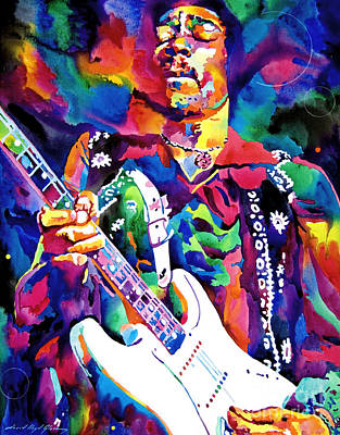 Music Legends Painting - Jimi Hendrix Purple by David Lloyd Glover