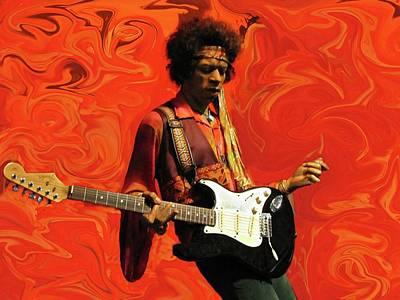 Jimi Hendrix Purple Haze Orange Art Print by David Dehner