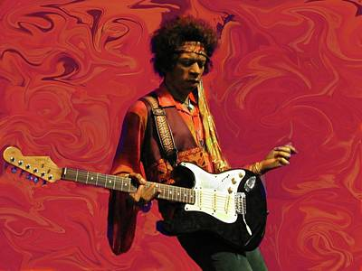 Jimi Hendrix Purple Haze Red Art Print by David Dehner