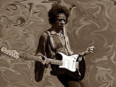 Jimi Hendrix Purple Haze Sepia Art Print by David Dehner