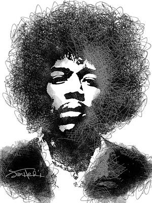Music Royalty-Free and Rights-Managed Images - Jimi Hendrix sketch pen portrait by Mihaela Pater
