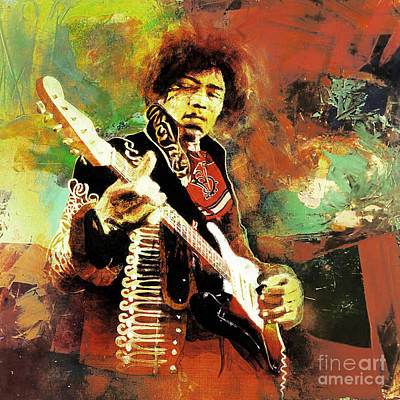 Rock And Roll Painting - Jimi Hendrix The Legend 01 by Gull G