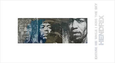 Mixed Media - Jimi Hendrix Triptych by Paul Lovering