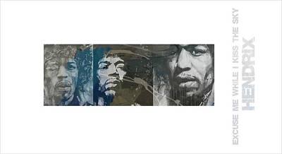 Jimi Hendrix Mixed Media - Jimi Hendrix Triptych by Paul Lovering