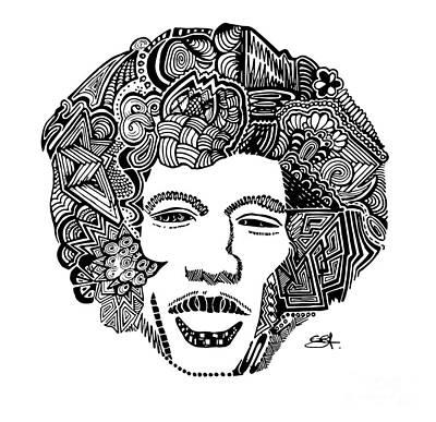 Jimi Hendrix Drawing - Jimi Hendrix - Zentangle - Doodle  by See Saw