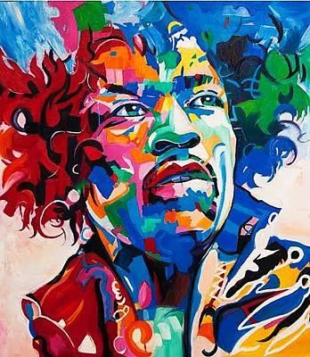 Gustavo Oliveira Painting - Jimi Hendrix's Spirit by Gustavo Oliveira