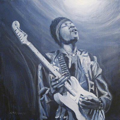Jimi In The Bluelight Art Print by Michael Morgan