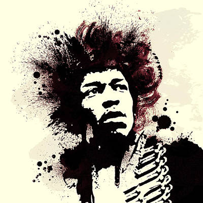 Purple Haze Painting - Jimi by Laurence Adamson