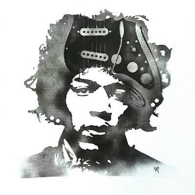 Jimi Strat Head Art Print