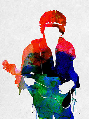 British Digital Art - Jimi Watercolor by Naxart Studio