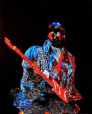 Painti Painting - Jimi With Guitar by Mike Aitken