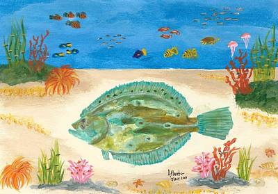 Flounder Painting - Jimmy B. Flounder by Atlanta Carrera