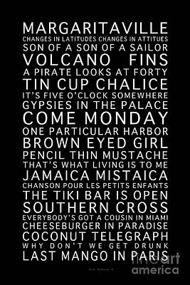 Photograph - Jimmy Buffett Concert Set List White Font On Black by John Stephens