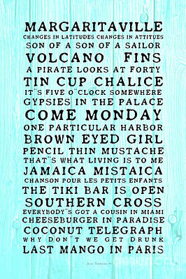Photograph - Jimmy Buffett Concert Set List Black Old Style Font On Caribbean Blue Rustic Wood by John Stephens