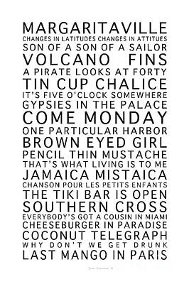 Photograph - Jimmy Buffett Concert Set List Black Font On White by John Stephens