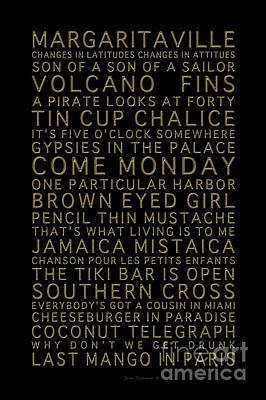 Photograph - Jimmy Buffett Concert Set List Gold Font On Black by John Stephens