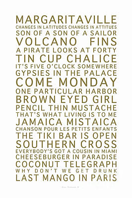 Photograph - Jimmy Buffett Concert Set List Gold Font On White by John Stephens