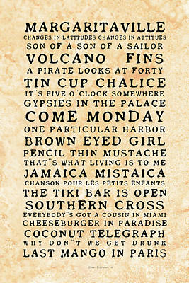 Photograph - Jimmy Buffett Concert Set List Old Style Black Font On Tequila Sunrise Parchment by John Stephens