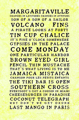 Photograph - Jimmy Buffett Concert Set List Old Style Black Font On Yellow Parchment by John Stephens