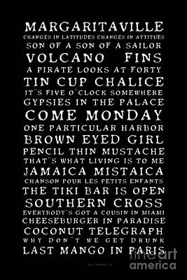 Photograph - Jimmy Buffett Concert Set List Old Style Embossed White Font On Black by John Stephens