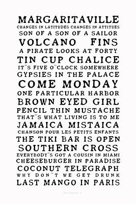 Photograph - Jimmy Buffett Concert Set List Old Style Black Font On White by John Stephens