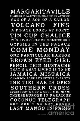 Photograph - Jimmy Buffett Concert Set List Old Style White Font On Black by John Stephens