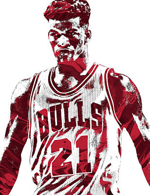 Free Mixed Media - Jimmy Butler Chicago Bulls Pixel Art 2 by Joe Hamilton