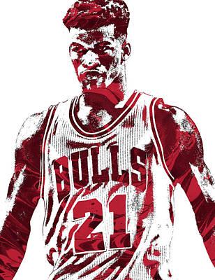 Chicago Bulls Mixed Media - Jimmy Butler Chicago Bulls Pixel Art 2 by Joe Hamilton