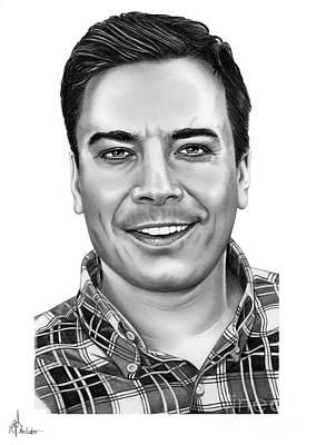 Famous People Drawing - Jimmy Fallon by Murphy Elliott