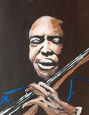 Double Bass Painting - Jimmy Garrison by Pete Maier