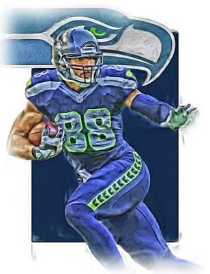 Mixed Media - Jimmy Graham Seattle Seahawks Oil Art by Joe Hamilton