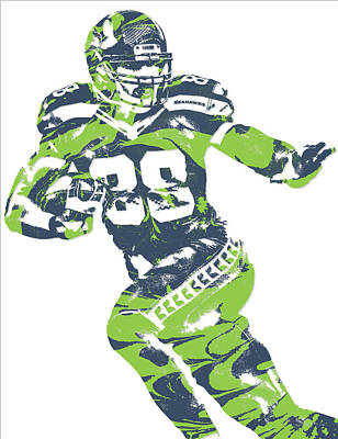Mixed Media - Jimmy Graham Seattle Seahawks Pixel Art 6 by Joe Hamilton