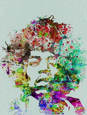 Rock Wall Art - Painting - Jimmy Hendrix Watercolor by Naxart Studio