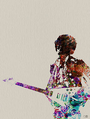 Jimmy Hendrix With Guitar Print by Naxart Studio