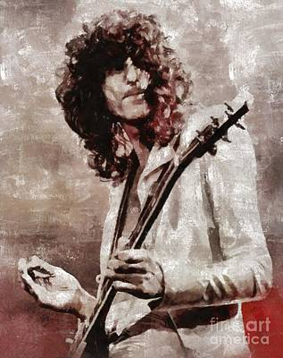 Music Royalty-Free and Rights-Managed Images - Jimmy Page by Mary Bassett by Mary Bassett