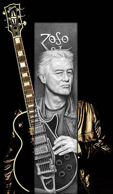 Led Zeppelin Drawing - Jimmy Page Drawing by Jeffrey St Romain