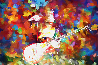 Yardbirds Painting - Jimmy Page Jamming by Dan Sproul