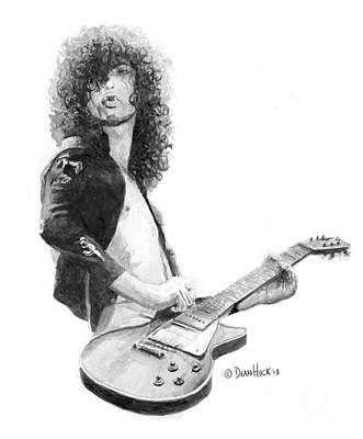 Zoso Drawing - Jimmy Page Live Onstage Watercolor by Dean Huck
