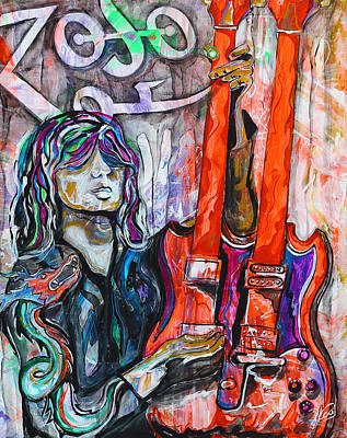 Robert Plant Drawing - Jimmy Page - Original Art - Gibson Eds-1275 Double Neck, Zoso,  by Paco Rocha
